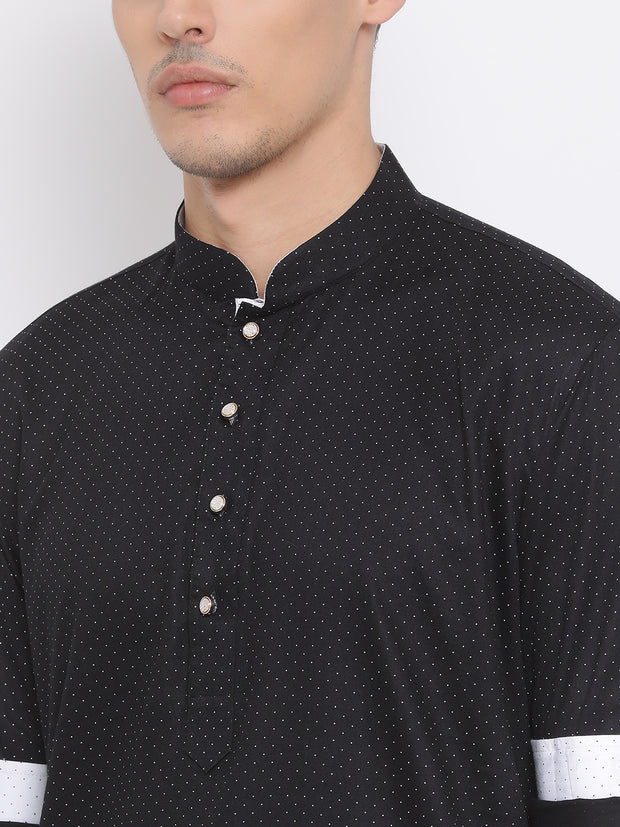 Men's Black Cotton Kurta
