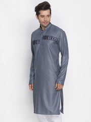 Men's Grey Cotton Blend Kurta