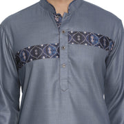 Men's Grey Cotton Blend Kurta and Pyjama Set