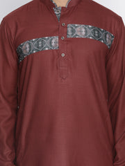 Men's Maroon Cotton Blend Kurta