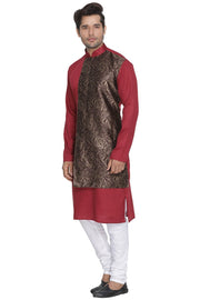 Men's Maroon Cotton Blend Kurta and Pyjama Set