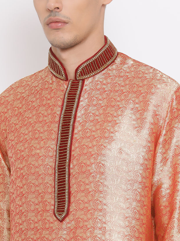 Men's Pink Cotton Silk Blend Kurta