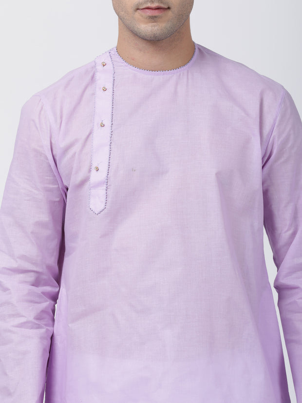 Men's Purple Cotton Blend Kurta