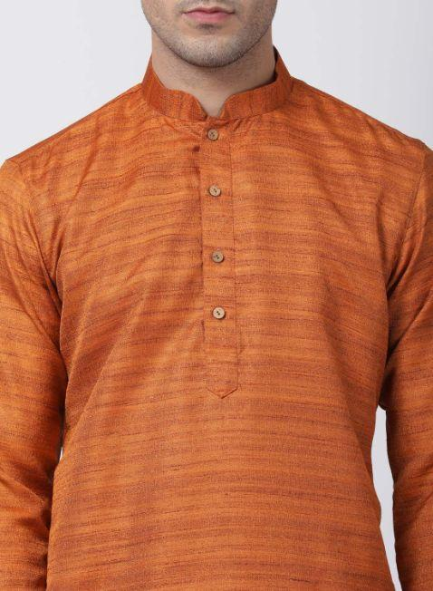 Men's Brown Cotton Silk Blend Kurta