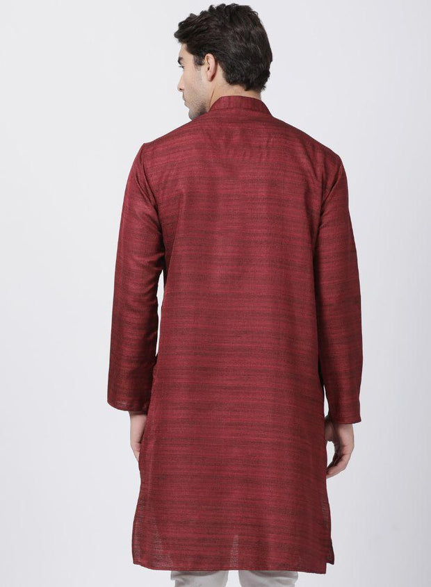 Men's Maroon Cotton Silk Blend Kurta