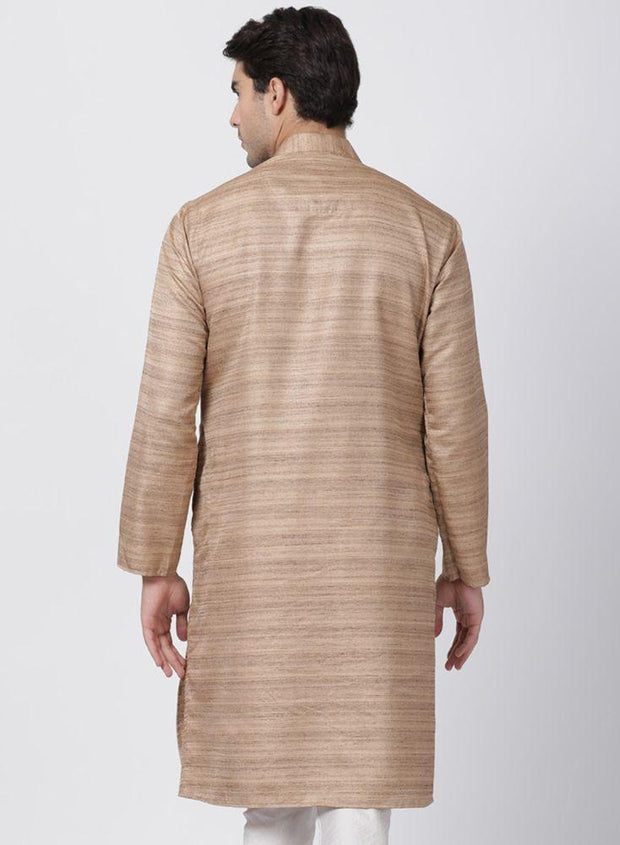 Men's Gold Cotton Silk Blend Kurta