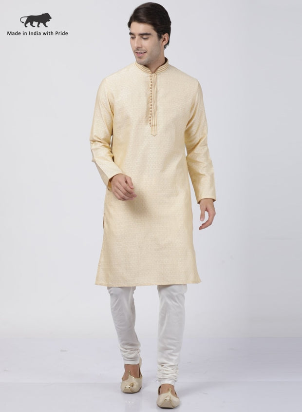 Men's Beige Cotton Silk Blend Kurta and Pyjama Set