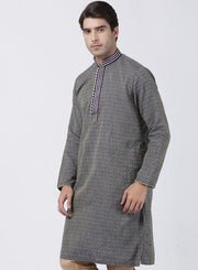 Men's Dark Blue Cotton Silk Blend Kurta