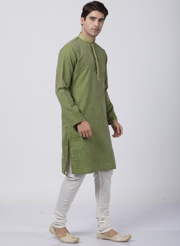 Men's Green Cotton Silk Blend Kurta and Pyjama Set