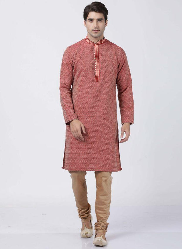 Men's Red Cotton Silk Blend Kurta