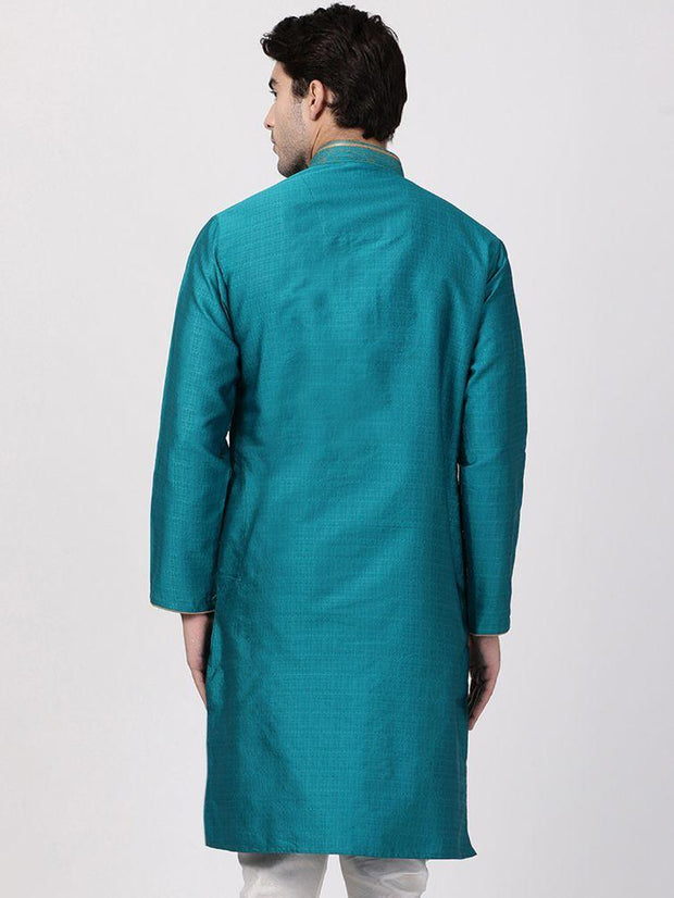 Men's Green Cotton Silk Blend Kurta