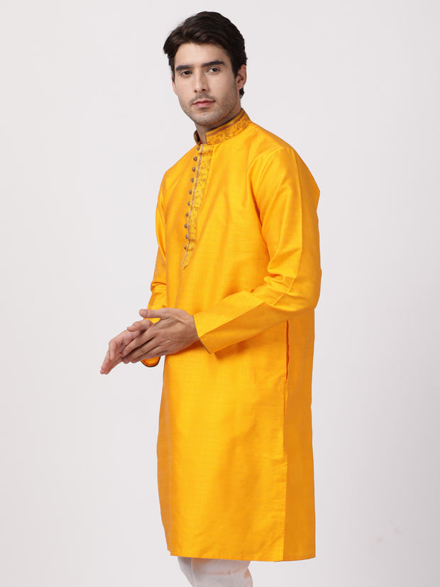 Men's Orange Cotton Silk Blend Kurta