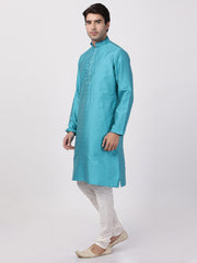 Men's Dark Green Cotton Silk Blend Kurta and Pyjama Set