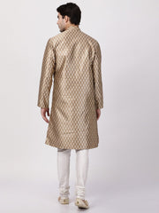 Men's Gold Cotton Silk Blend Kurta and Pyjama Set