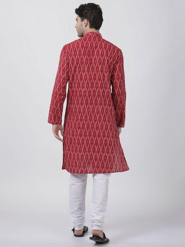Men's Maroon Pure Cotton Kurta and Pyjama Set