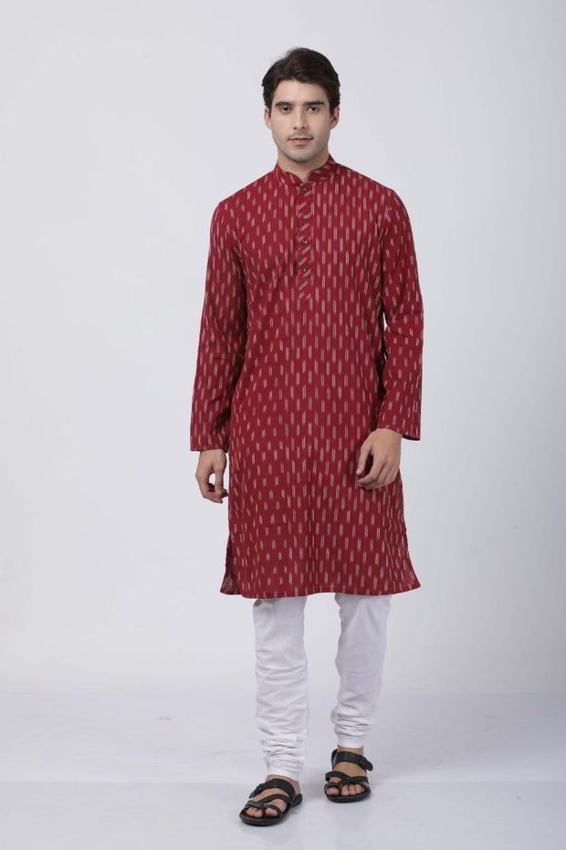 Men's Maroon Pure Cotton Kurta