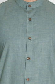 Men's Green Cotton Kurta