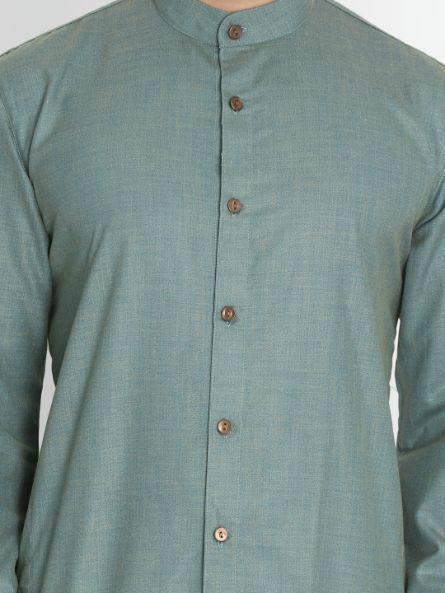 Men's Green Cotton Blend Kurta and Pyjama Set