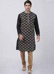 Men's Black Cotton Silk Blend Kurta