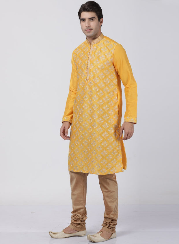 Men's Yellow Cotton Silk Blend Kurta and Pyjama Set