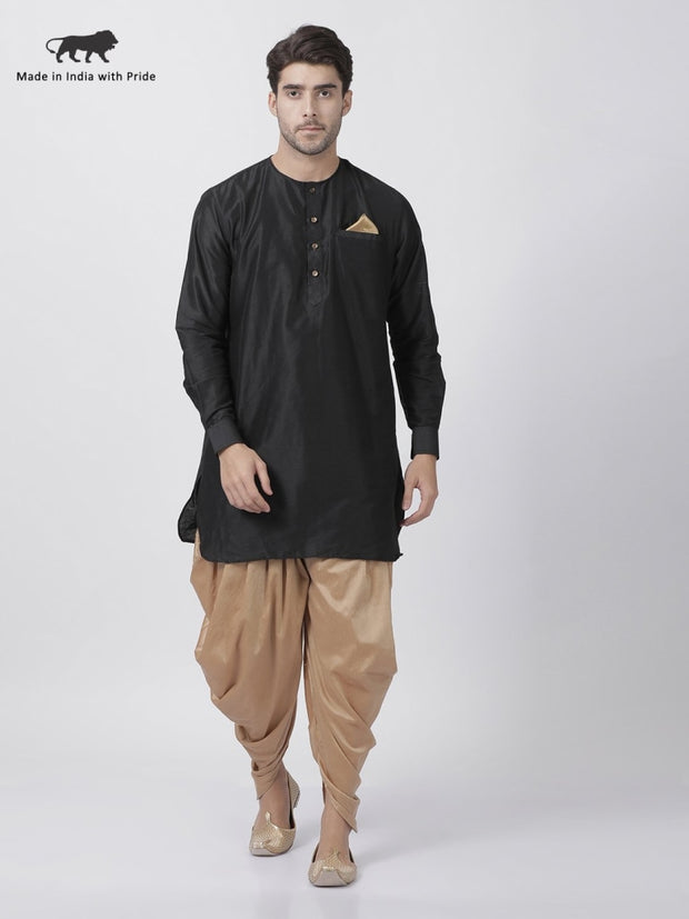Men's Black Cotton Blend Kurta and Dhoti Pant Set