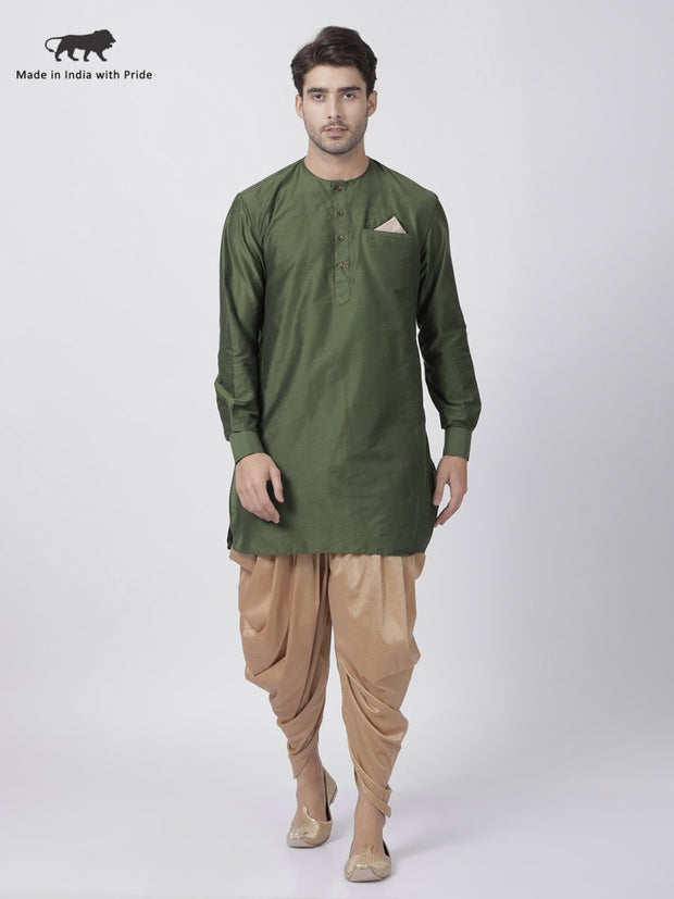 Men's Green Cotton Blend Kurta and Dhoti Pant Set