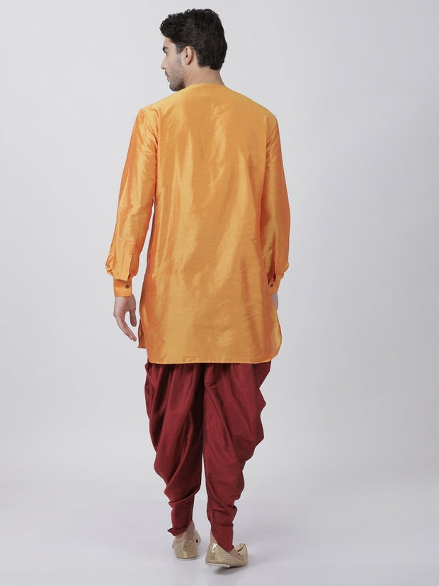 Men's Orange Cotton Blend Kurta and Dhoti Pant Set