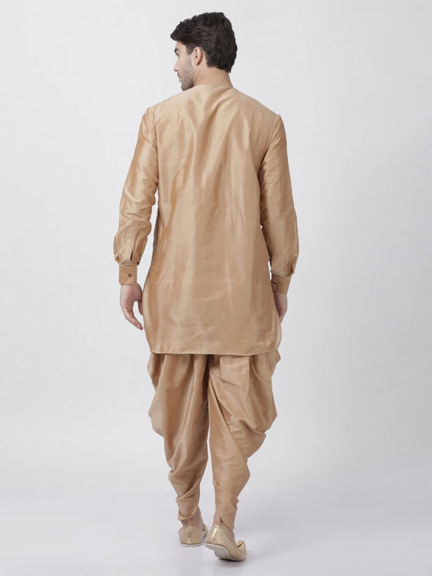 Men's Gold Cotton Blend Kurta and Dhoti Pant Set