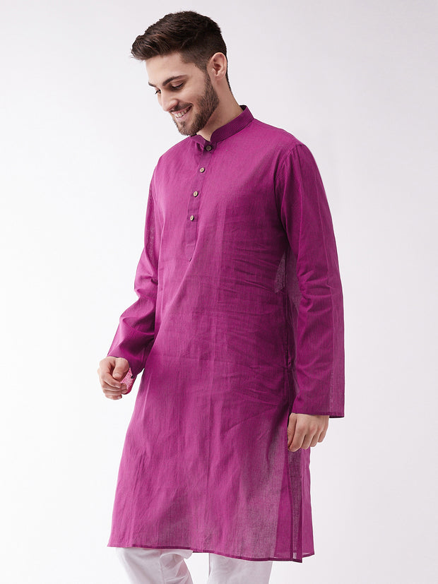 Men's Purple Pure Cotton Kurta