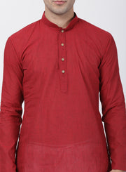 Men's Red Pure Cotton Kurta