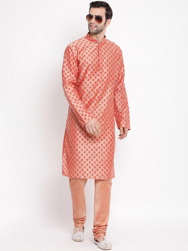 Men's Pink Cotton Silk Blend Kurta and Pyjama Set
