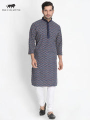 Men's Blue Cotton Kurta and Pyjama Set