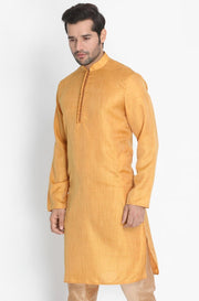 Men's Yellow Cotton Silk Blend Kurta