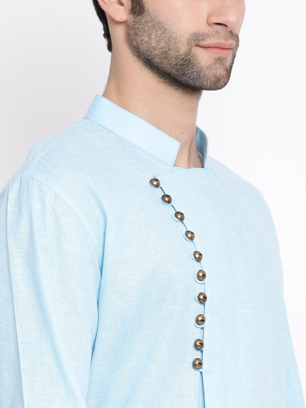 Men's Blue Mix Cotton Kurta and Pyjama Set