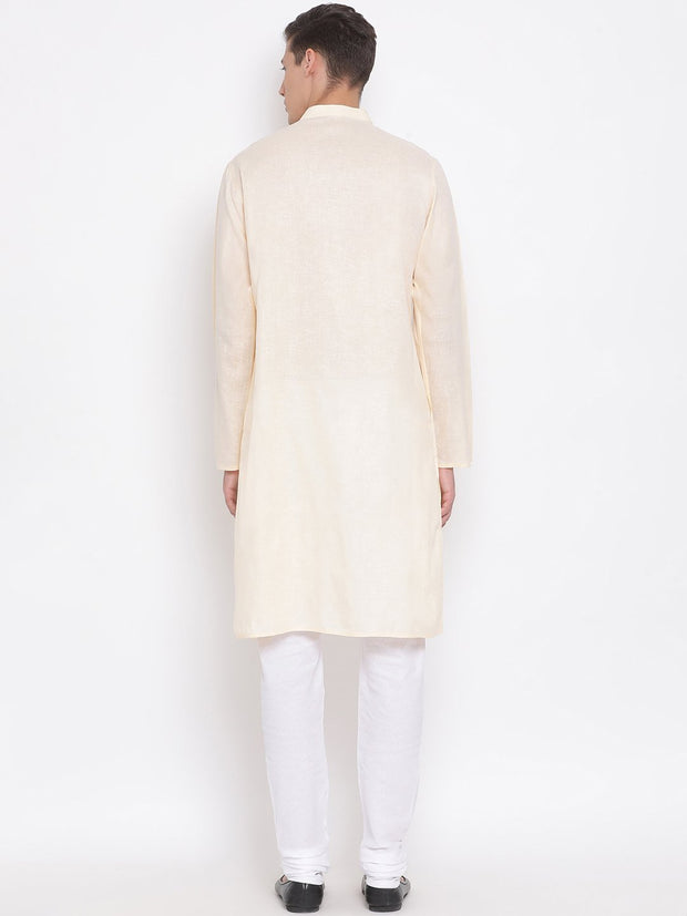 Men's Cream Mix Cotton Kurta and Pyjama Set