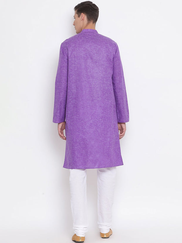 Men's Purple Mix Cotton Kurta and Pyjama Set