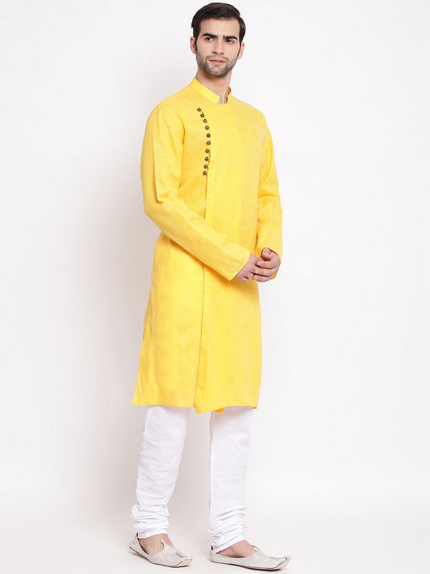 Men's Yellow Mix Cotton Kurta and Pyjama Set