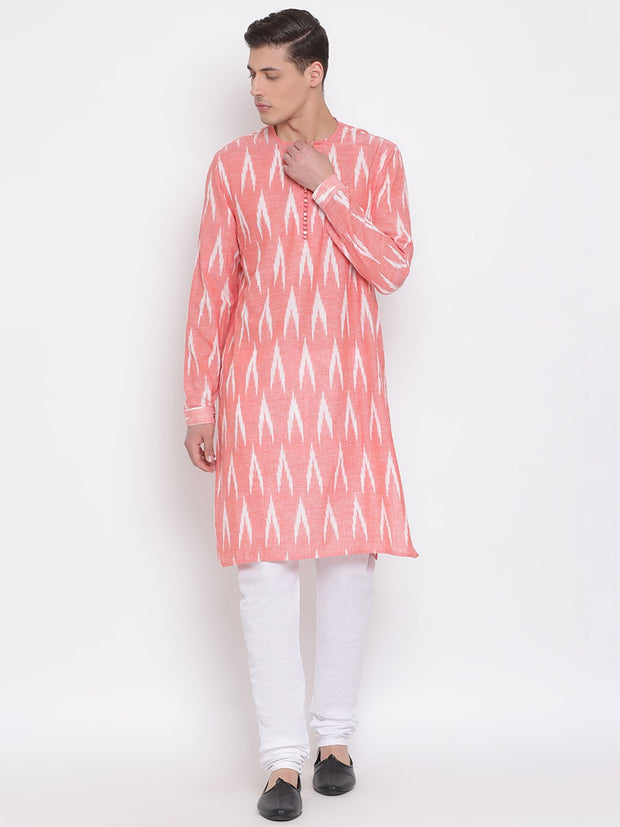 Men's Pink Cotton Kurta and Pyjama Set