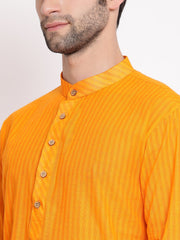 Men's Orange Pure Cotton Kurta and Pyjama Set