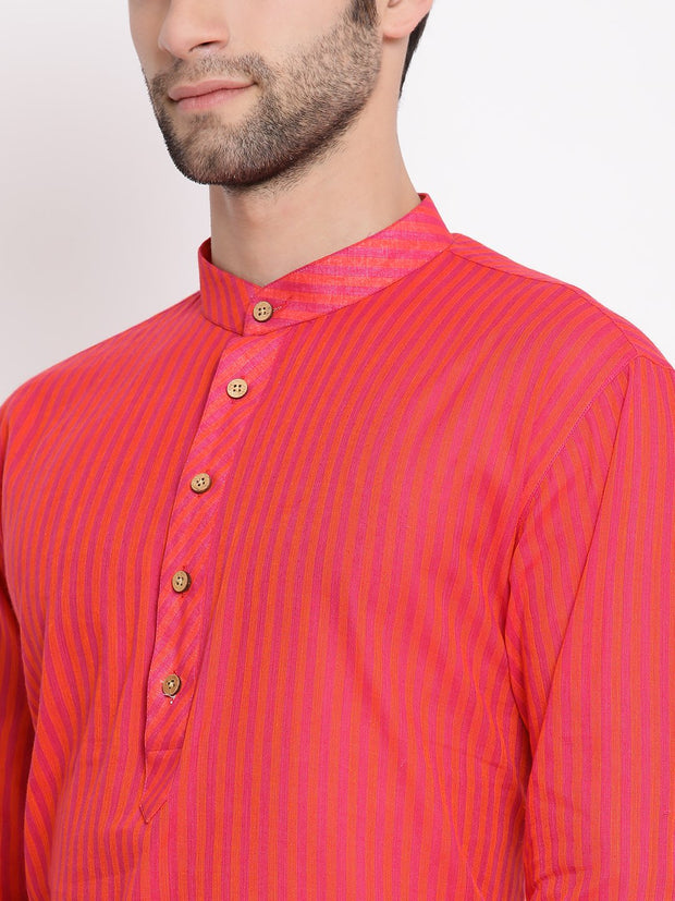 Men's Pink Pure Cotton Kurta and Pyjama Set