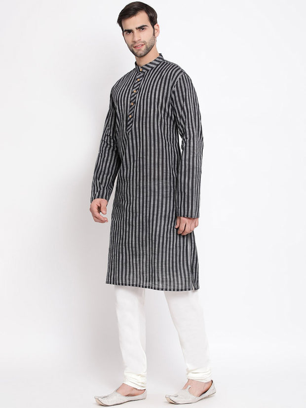 Men's Black Pure Cotton Kurta and Pyjama Set