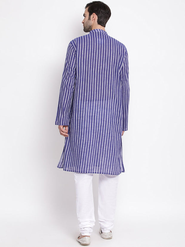 Men's Blue Pure Cotton Kurta and Pyjama Set