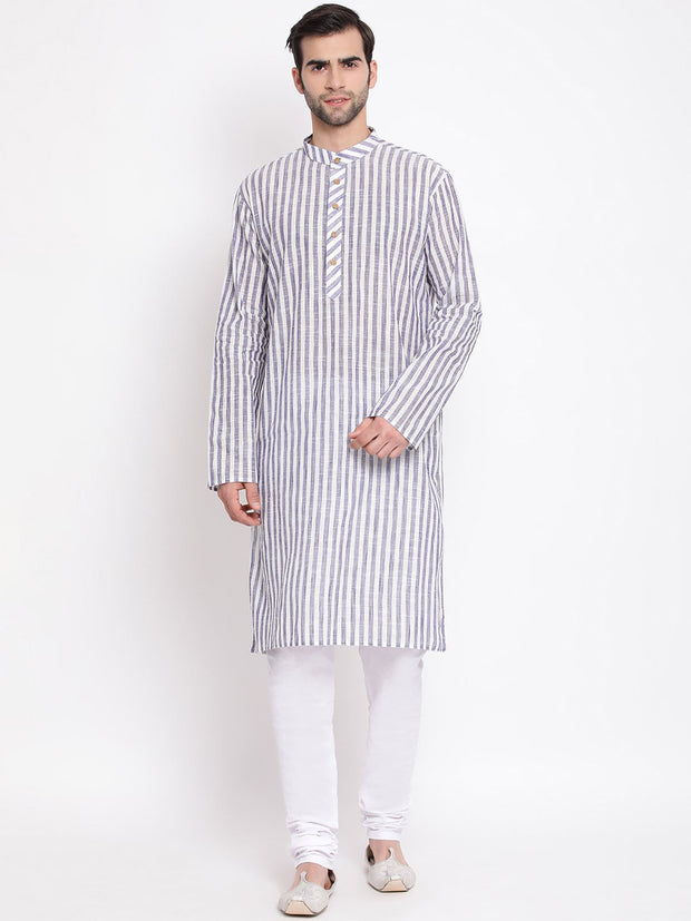 Men's Grey Pure Cotton Kurta and Pyjama Set