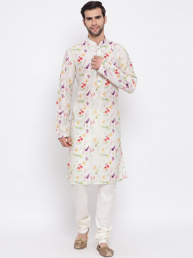Men's Cream Cotton Blend Kurta and Pyjama Set