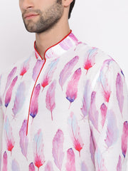 Men's Pink Cotton Blend Kurta and Pyjama Set