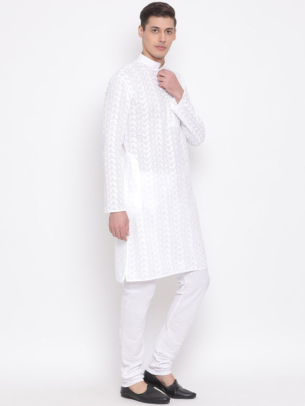 Men's White Pure Cotton Kurta and Pyjama Set