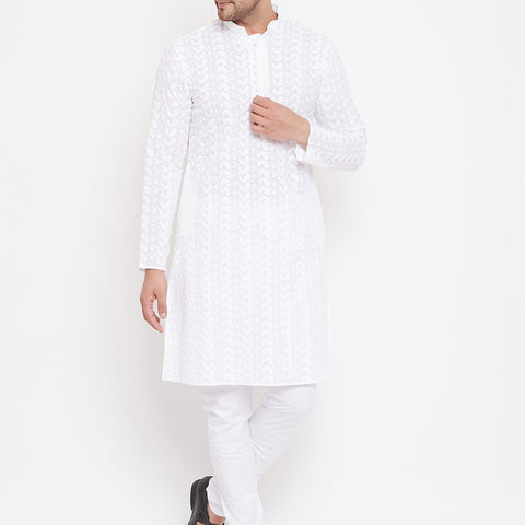 Men's White Chikankari Pure Cotton Kurta Pyjama Set