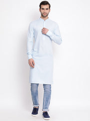 Men's Blue Cotton Blend Kurta