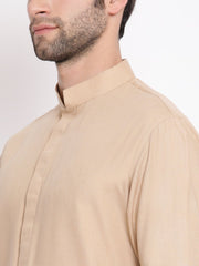 Men's Beige Cotton Blend Kurta