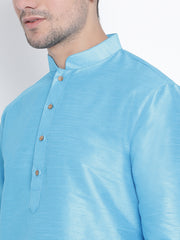 Men's Light Blue Cotton Silk Blend Kurta